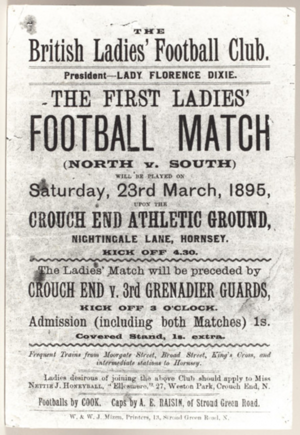 The notice for the first women's football match in Britain
